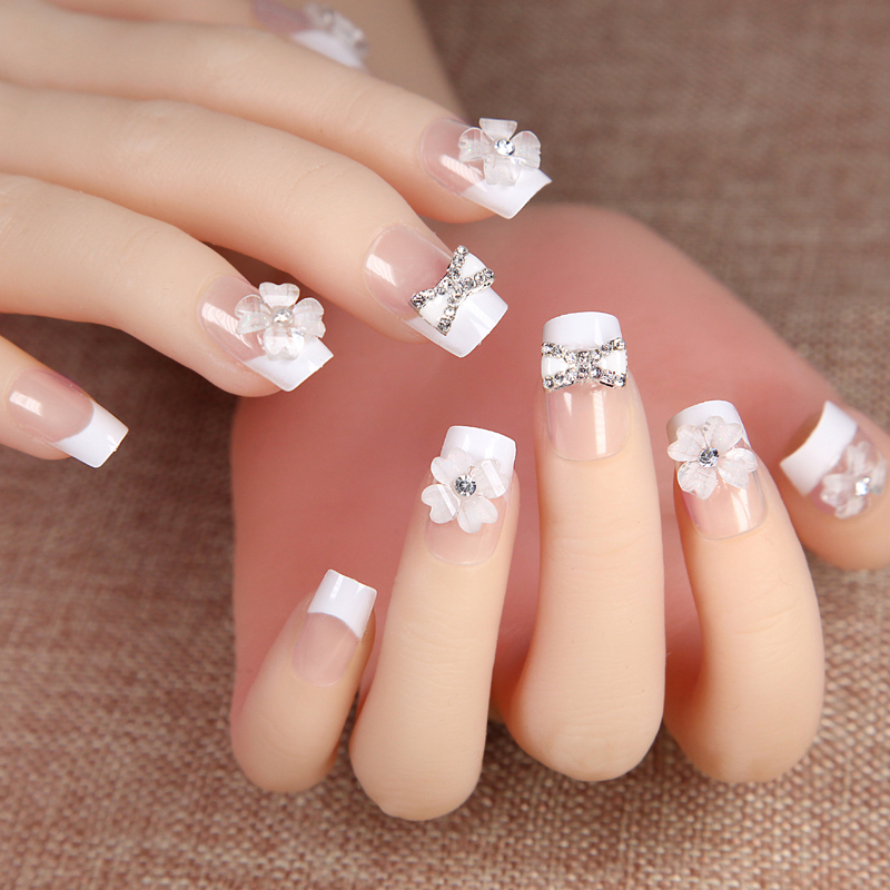 Nail finished Korean bride married false nail patch Japanese natural ...