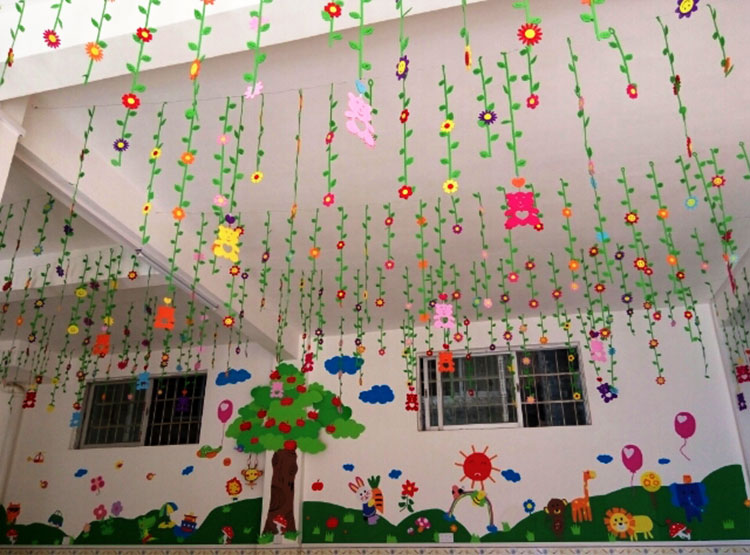 Kindergarten classroom aerial hanging ornaments class for Ceiling hanging decorations ideas