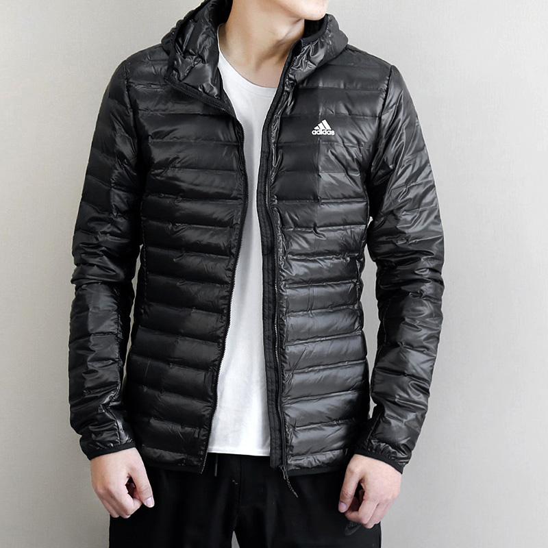阿迪达斯男装2019春季新款运动服连帽保暖羽绒服茄克外套BQ8541