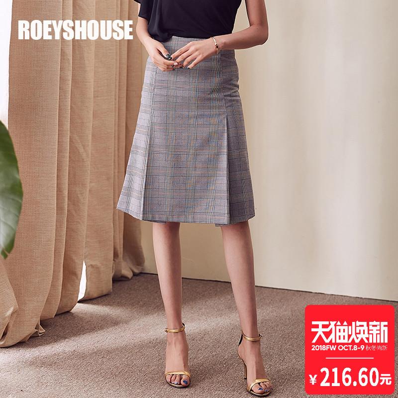 罗衣原创半身裙女2018夏装新款知性OL复古气质格子A字半身裙4169