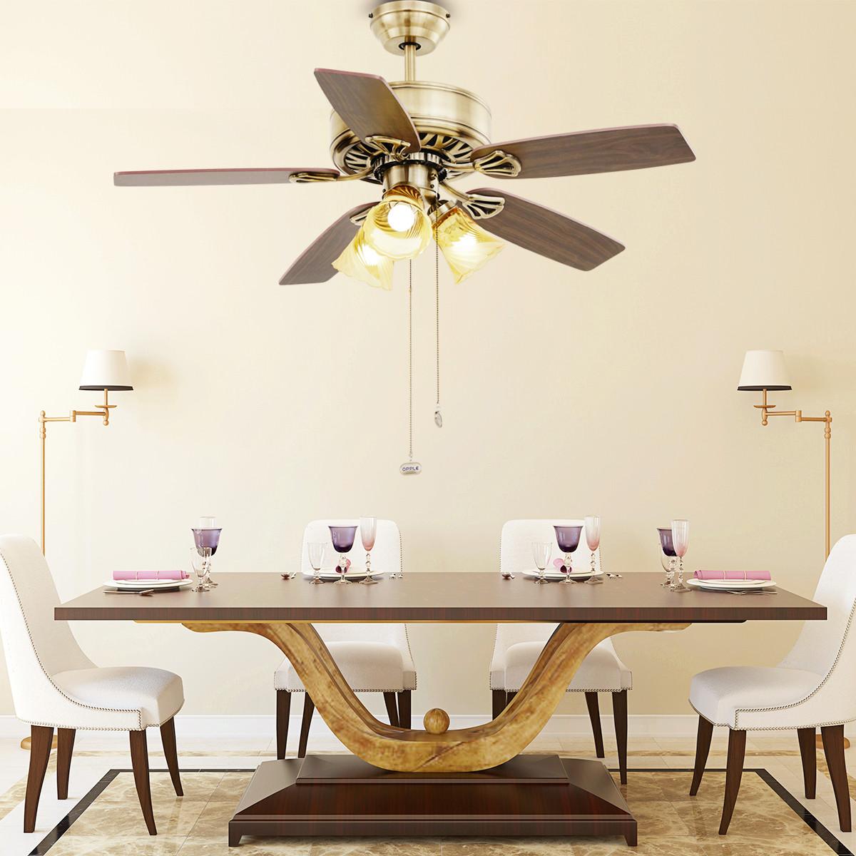 OPPLE吊扇灯餐厅吊灯家用大气现代简约带电风扇灯客厅创意个性