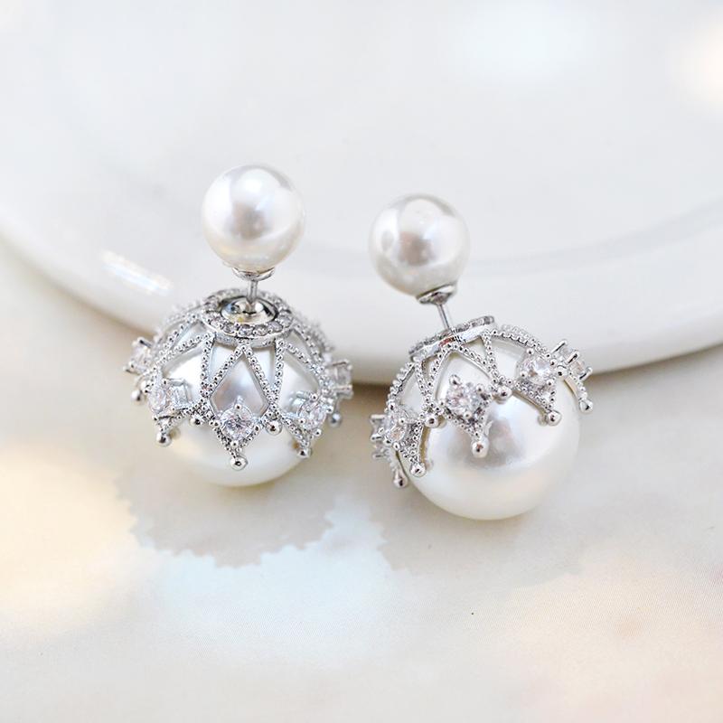 双面珍珠耳钉女耳环韩国个性气质前后镶钻两用防过敏耳饰