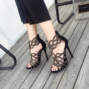 2018 new intellectual you light luxury diamond geometry hollow out fine with high heels women sandals