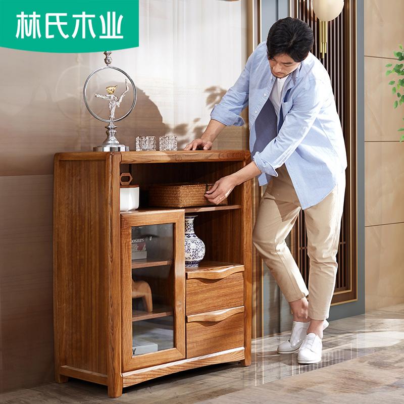 小户型新中式玄关柜进门实木框现代简约客厅餐厅厨房储物酒柜CU1O