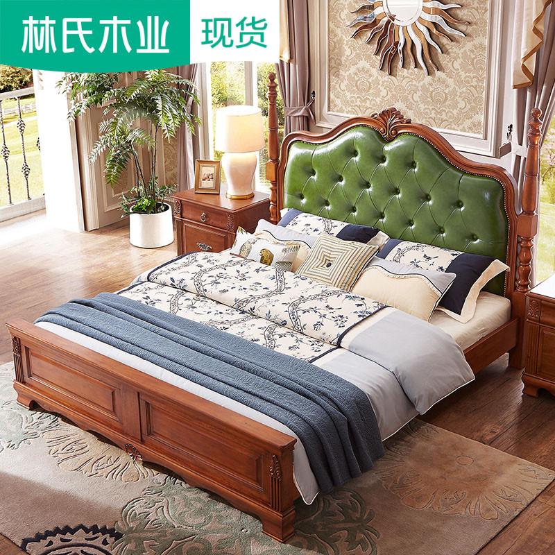 美式家具成人单人木床欧式双人床1.5米主卧高箱储物婚床高脚CV2A