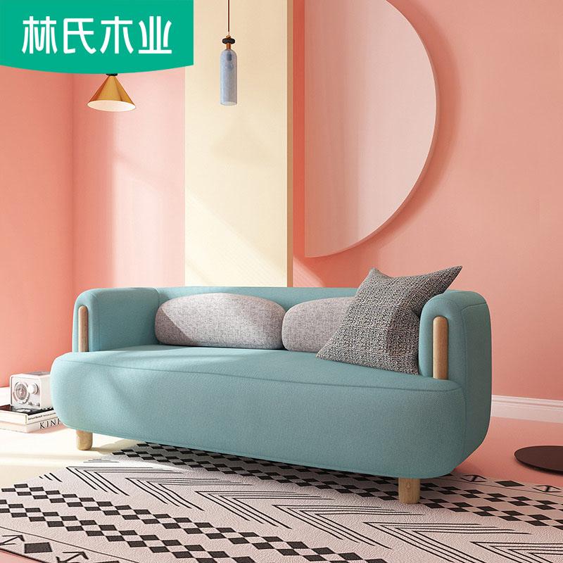 布艺沙发客厅整装小户型简约三人位实木脚北欧风格沙发组合DT1K