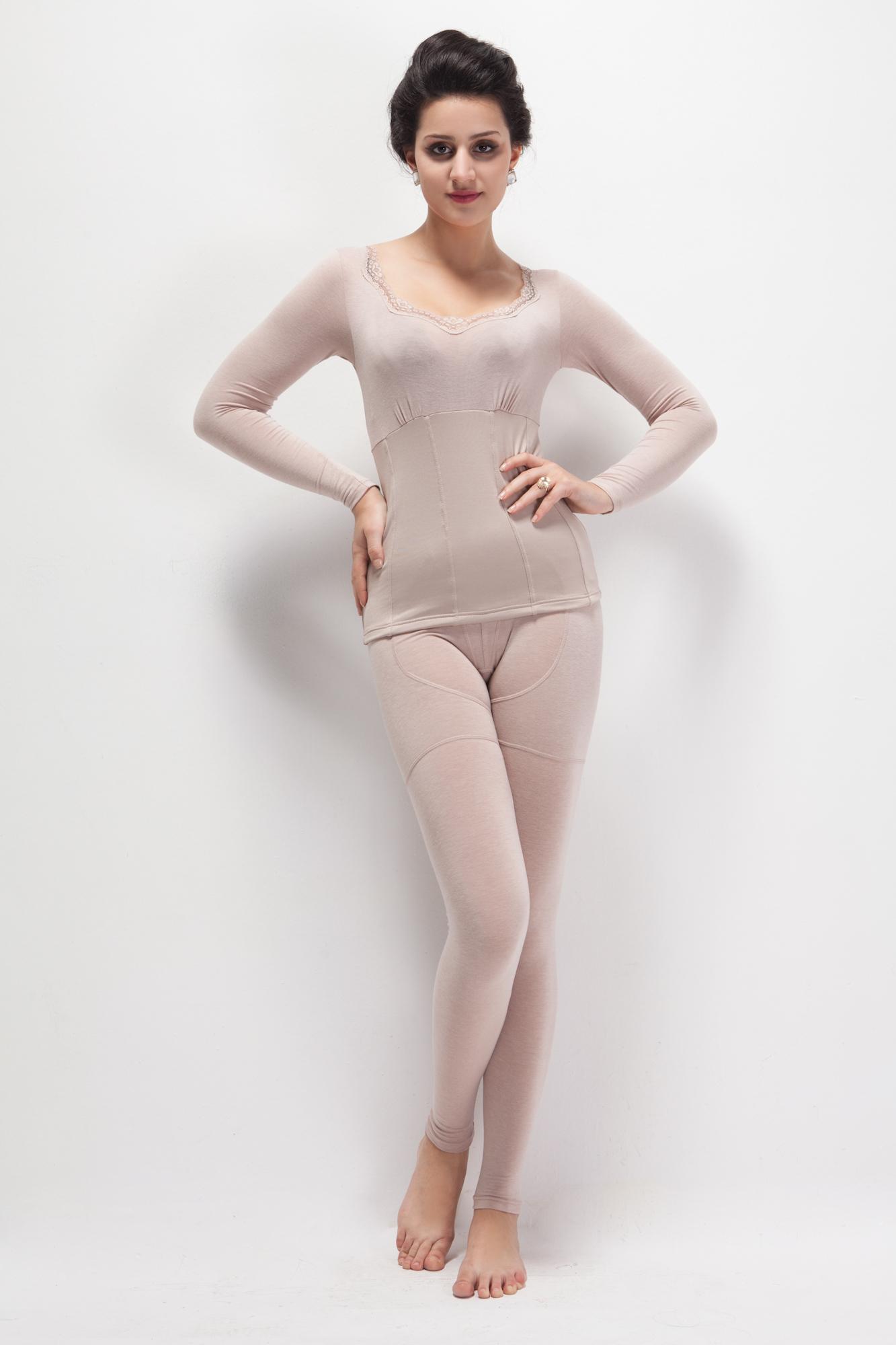 爱慕保暖内衣女 秋冬正品 塑身美体衣收腹保暖内衣套装打底衫包邮