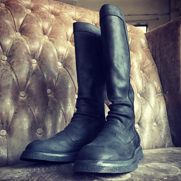 奈瑟暗黑马靴男长筒靴过膝马丁靴皮靴高筒蟒蛇皮男靴马术骑马靴子