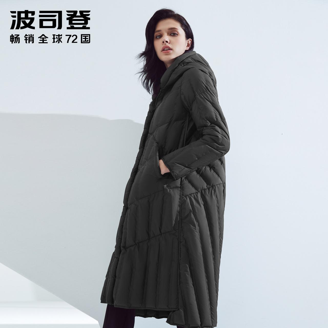 波司登新款羽绒服女中长款连帽休闲百搭长款冬季外套女B80131116