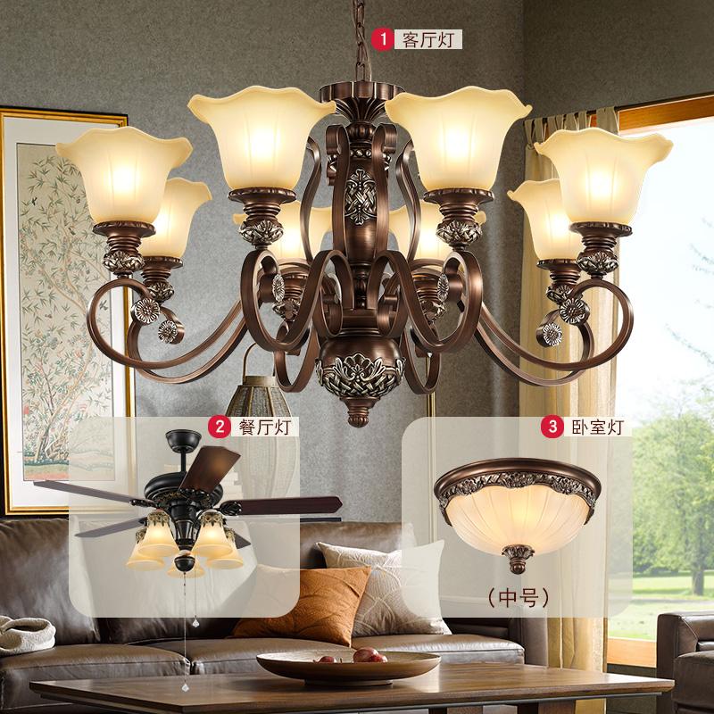 美式吊灯客厅灯餐厅灯复古吊扇灯风扇灯北欧乡村卧室成套灯具套餐