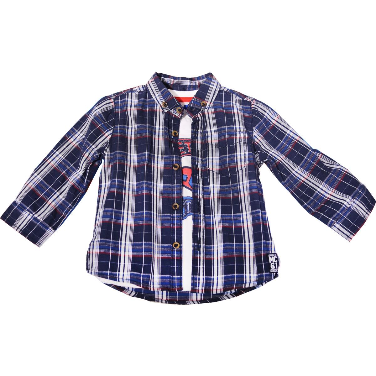 mothercare儿童短袖T恤男婴小童薄棉质长袖格纹衬衫印花T恤衫套装