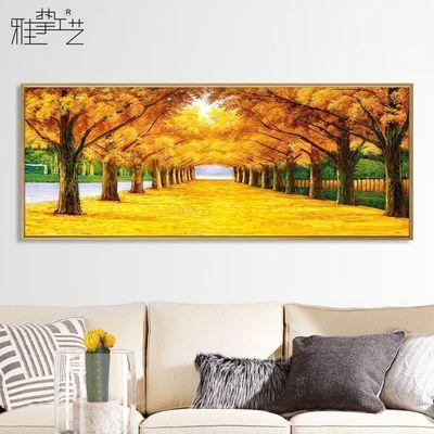 现代简约客厅装饰画长横幅沙发背景墙画卧室床头挂画油画黄金满地