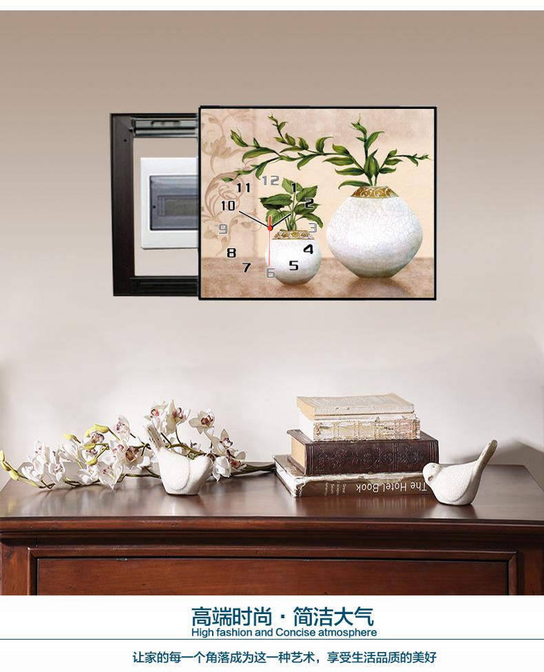 黛菲 新中式古典电表箱装饰画 推拉客厅配电闸盒遮挡箱钟表壁挂画图片