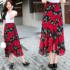 实拍6160#夏季新款女装红色花朵图案半身裙雪纺印花显瘦大摆裙