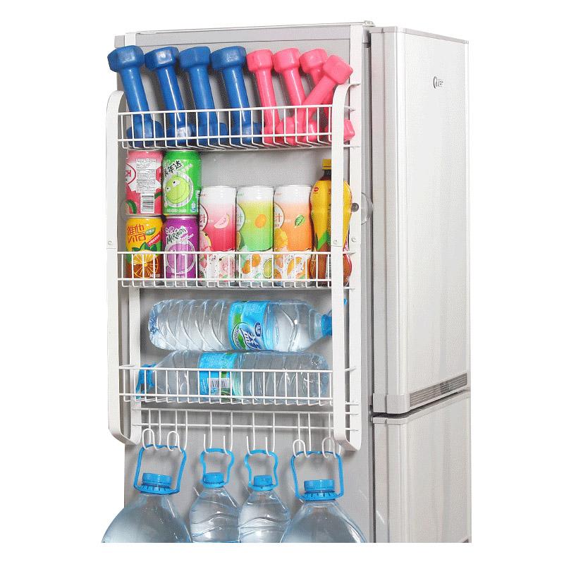 欧润哲 扁铁款冰箱侧壁挂架 大容量厨房置物架调味瓶收纳架加大款