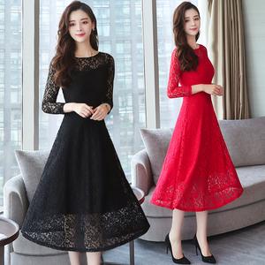 实拍名媛长袖气质蕾丝连衣裙女秋装过膝长款修身内搭大码黑红长裙