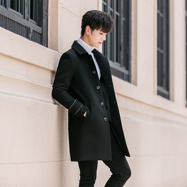 秋冬季风衣男中长款韩版潮流帅气毛呢大衣男士外套2018新款上衣服