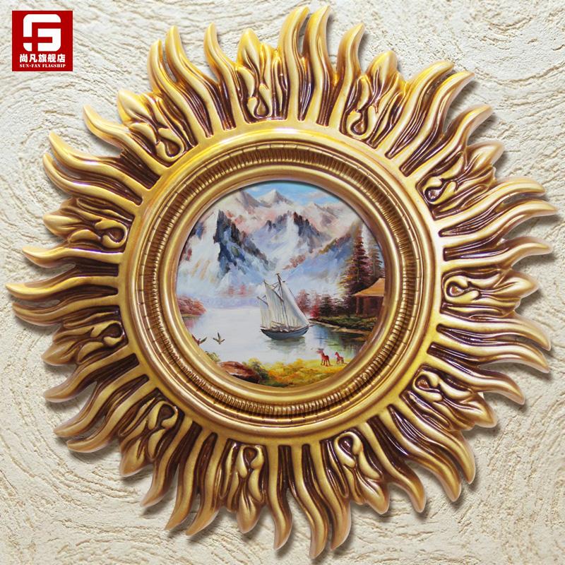 手绘古典风景抽象餐厅壁画欧式客厅太阳挂画玄关装饰画