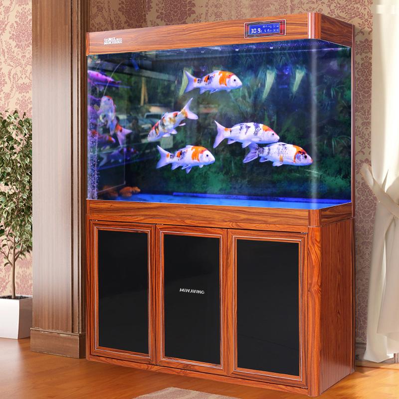 闽江大型鱼缸水族箱客厅中型底过滤金鱼缸家用玻璃木纹生态龙鱼缸