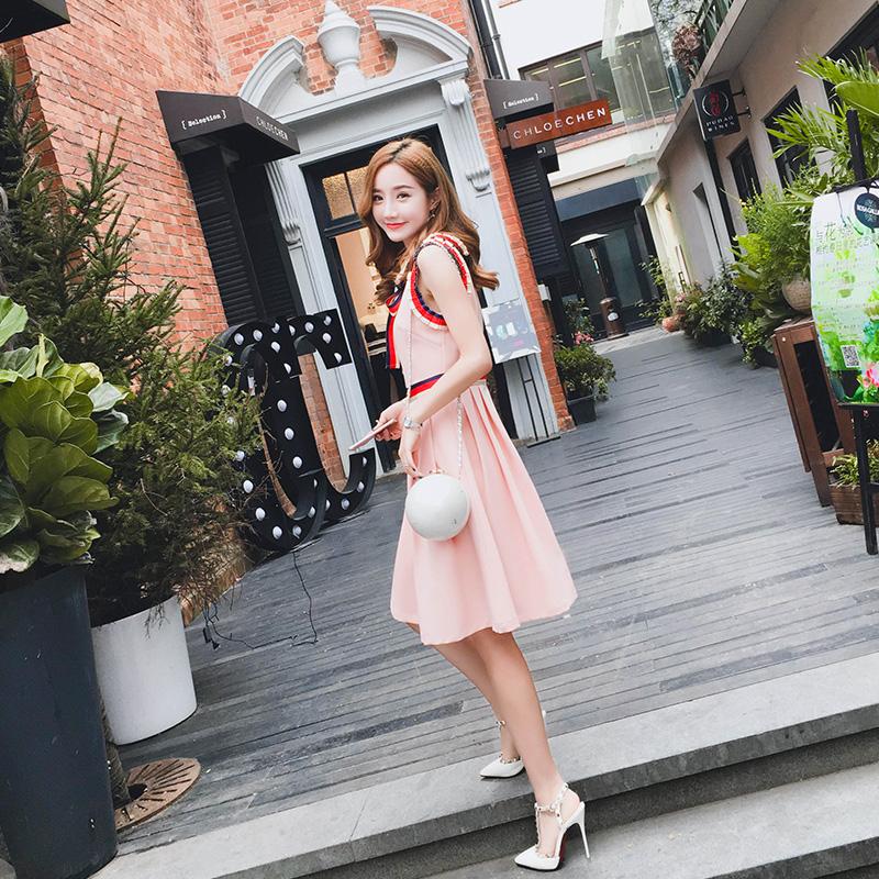 2018新款女装春装小香风裙子蝴蝶结粉色名媛娃娃领连衣裙气质显瘦