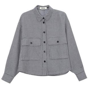 幻走千鸟格纯棉短款长袖衬衫外套