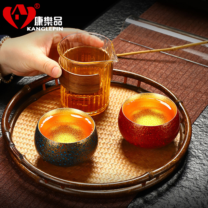 Recreation is tasted Chinese lacquer violet arenaceous gold cup capacity of 120 ml 48 mm wide, 80 mm high Chinese lacquer rhinoceros leather lacquer tea set