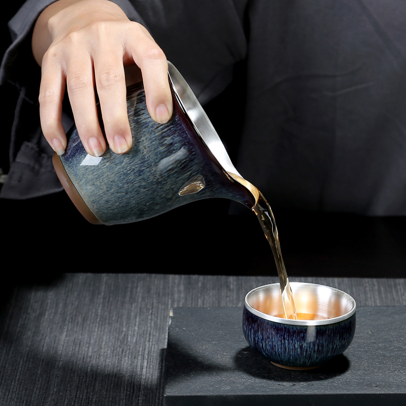 Recreational product temmoku glaze up tasted silver gilding kung fu tea cup portion and cup of tea ware ceramic fair Japanese silver cup