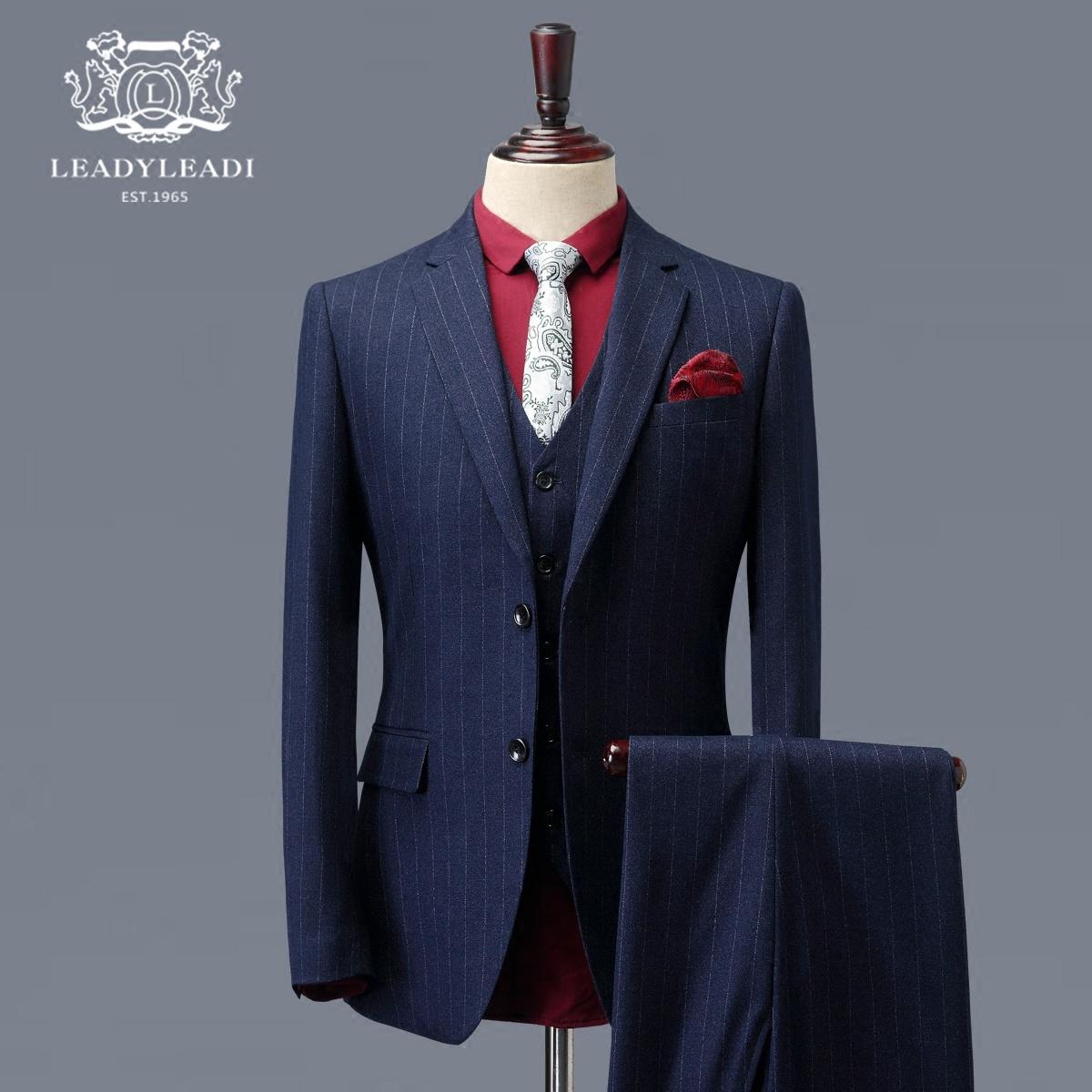 西服套装男士正装韩版修身定制商务西装三件套英伦风新郎结婚礼服