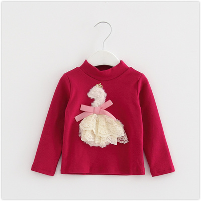 (Three 30% off) brand children's clothing girls spring knit long-sleeved bottom collar collar T-shirt children 4588