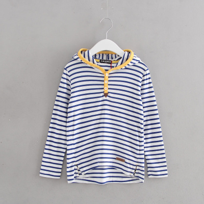 110-160 brand children's clothing counter withdraw girls fall cotton long-sleeved T-shirt striped hoodie 51043