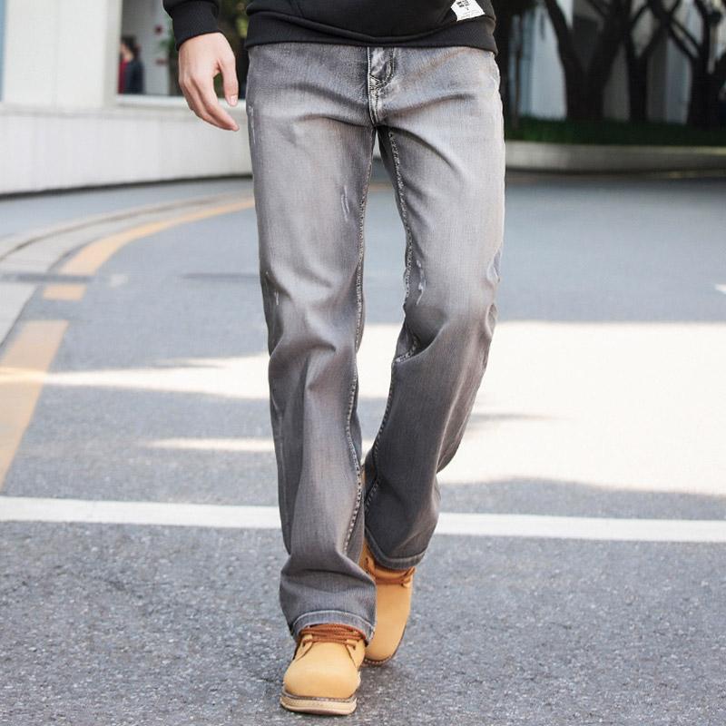 卓别伦秋冬季灰色弹力宽松牛仔裤男士直筒休闲加大码青年潮长裤子