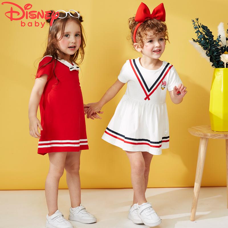 迪士尼女童连衣裙女宝宝公主裙夏季短袖儿童裙子小童装2018新款