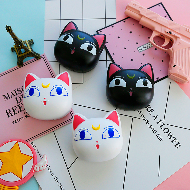 Rhyme good cartoon character soft cat kit pupil beauty girl soldier contact lens case animation around