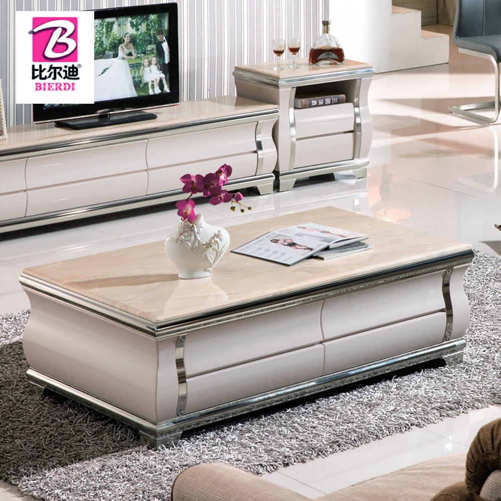 茶几 大理石面现代简约不锈钢时尚客厅长方形电视柜茶几组合套装