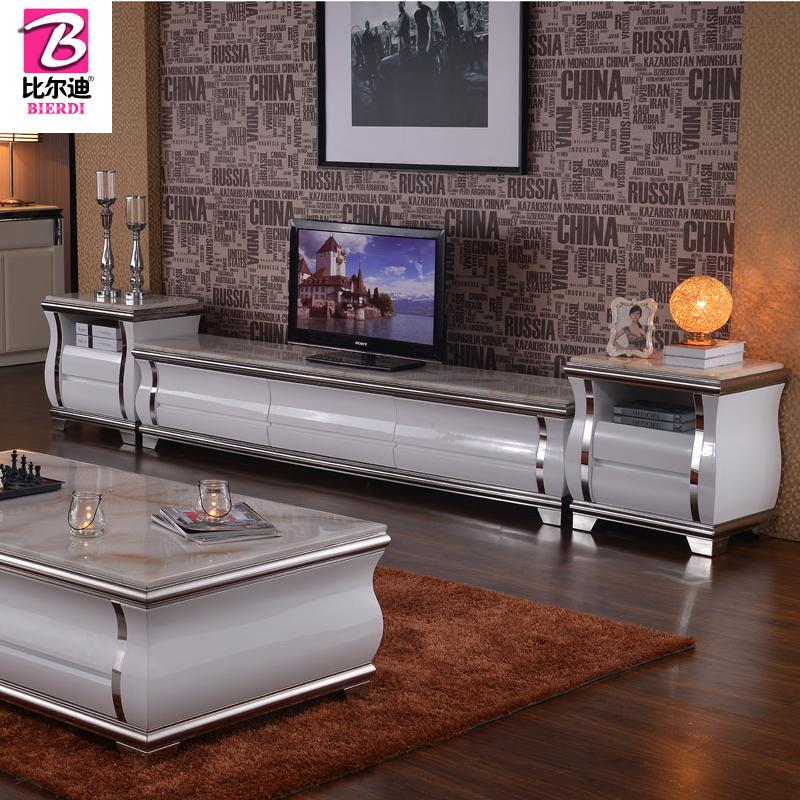 大理石电视柜简约现代地柜烤漆不锈钢客厅家具电视柜茶几组合套装