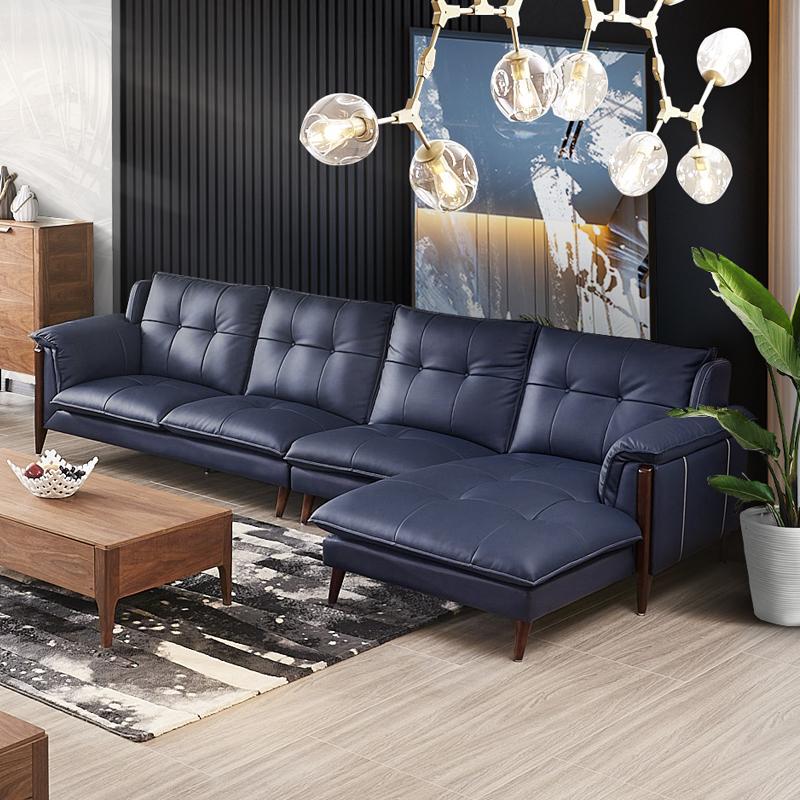 顶冠家具真皮北欧沙发欧式实木沙发客厅整装组合转角美式沙发1806