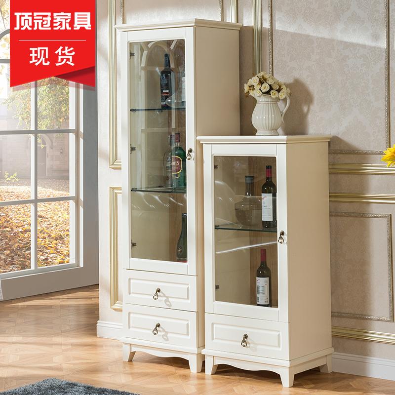 顶冠实木欧式单门酒柜客厅展示柜装饰小酒柜隔断柜实木玻璃柜