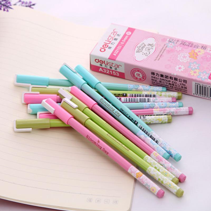 得力小清新中性笔 创意学生文具签字笔黑色水笔中性笔12支混搭