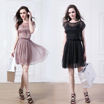 2018春装夏季韩版大码女装宽松桑蚕丝假两件套修身显瘦真丝连衣裙