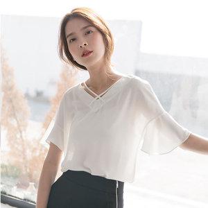 夏2018新款白色荷叶短袖上衣女半袖雪纺衫宽松遮肚子收腰小衫T恤