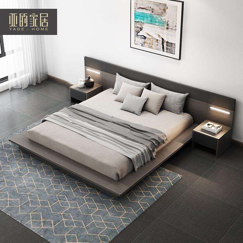 北欧榻榻米床现代简约板式床主卧婚床1.5米1.8米双人床日式储物床