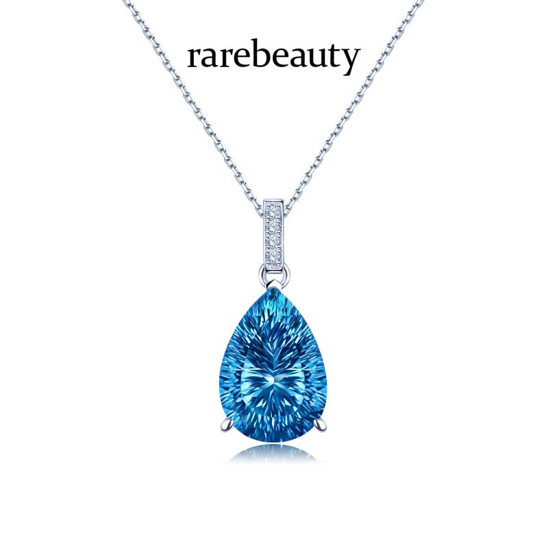 18k白金项链女天然蓝托帕石钻石宝石吊坠简约锁骨链女士生日礼物