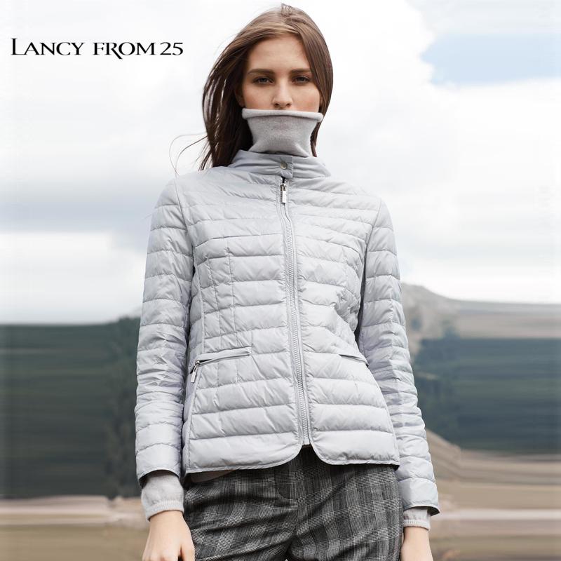 朗姿 2018冬装新款白鹅绒外套立领糖果色短款小款轻薄羽绒服女冬
