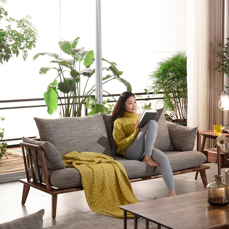 优粤北欧家具实木沙发组合现代简约黑胡桃木客厅整装小户型布艺