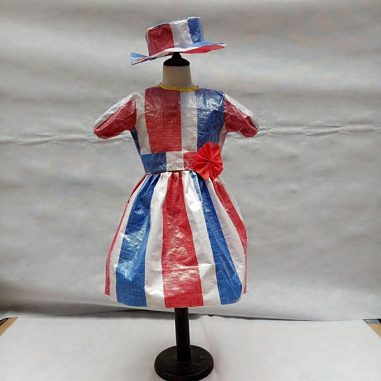 环保编织蛇皮袋手工幼儿园亲子时装走秀男女演出服装儿童舞台表演