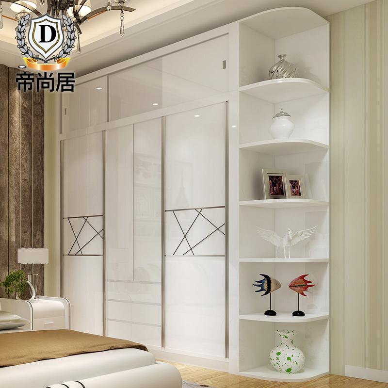 衣柜推拉门现代简约卧室柜子移门滑门烤漆卧室经济型多功能大衣柜