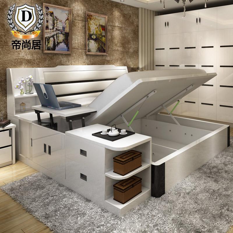 榻榻米床 现代简约多功能卧室主卧双人1.8米床储物柜收纳高箱气压