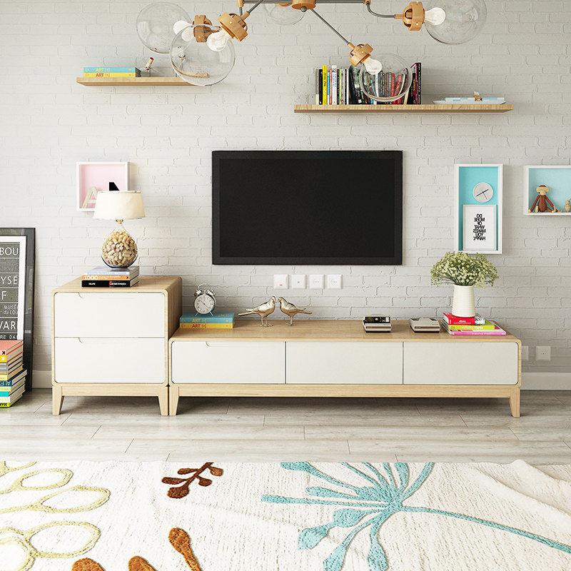 恋之风景 现代简约实木电视柜 客厅小户型北欧原木茶几地柜组合