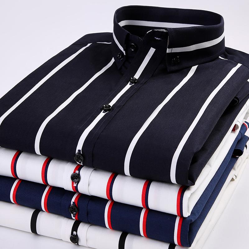 秋季黑白条纹衬衫男帅气韩版修身纯棉寸休闲男士长袖商务潮流衬衣