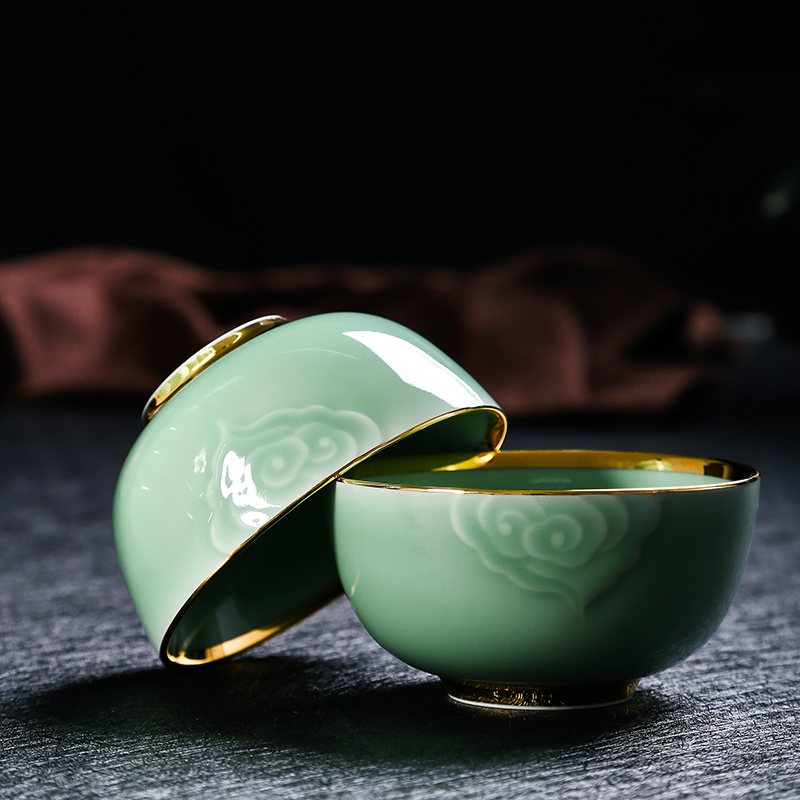 Red xin longquan celadon dishes carved up phnom penh high - end web celebrity hand - made use of jingdezhen ceramics tableware suit
